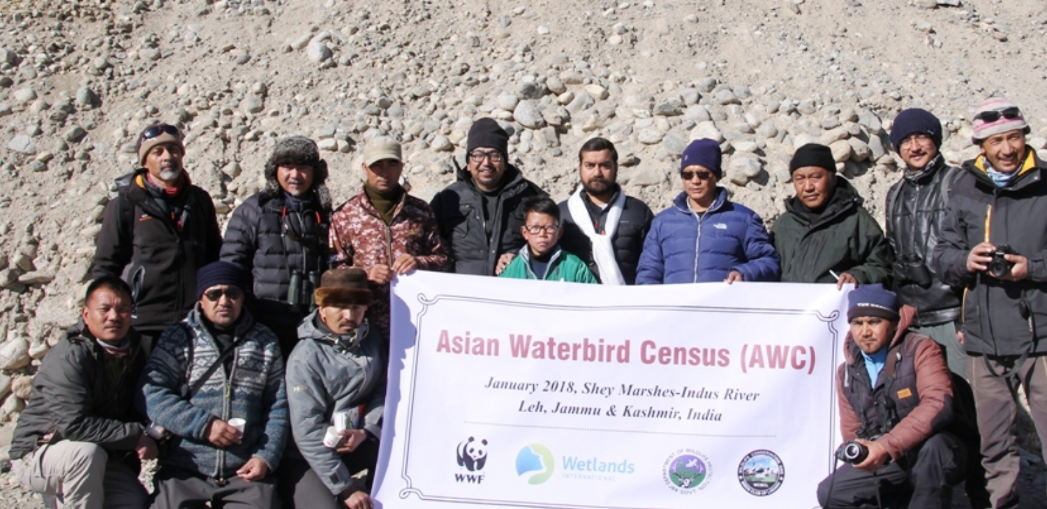With Wildlife Warden Shri. Pankaj Raina, during the Asian Waterbird Census in January 2018